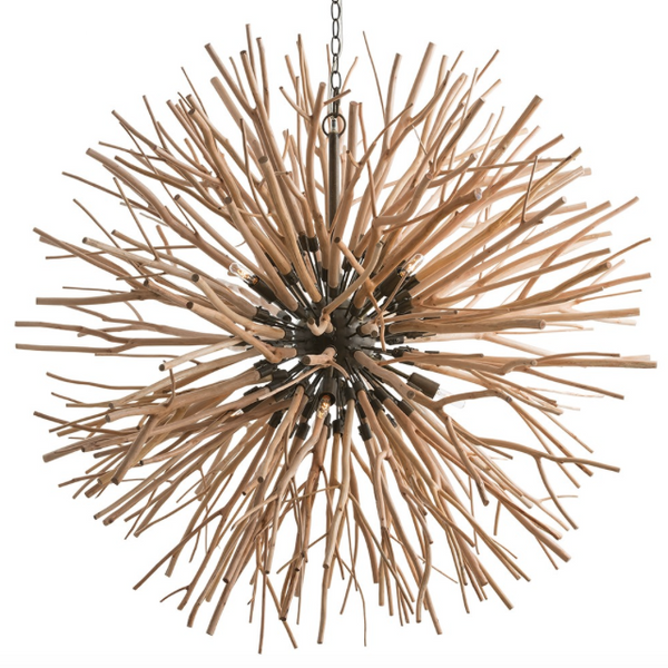 Arteriors Finch Wooden Sunburst Chandelier