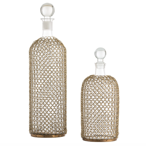Arteriors Drexel Chainmail Glass Decanters – Set of 2