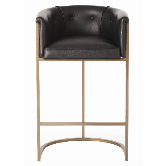 Arteriors Calvin Barstool — Black Leather