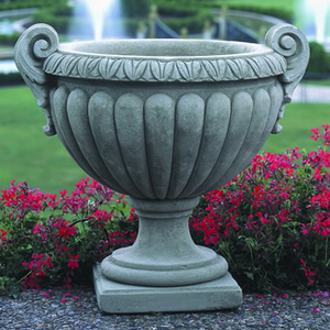 Traditional Urn Stone Planter - Grey Stone Patina