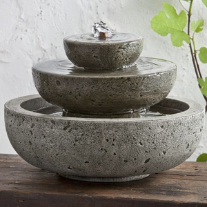 Three Tiered Tabletop Stone Fountain - Alpine Stone Patina