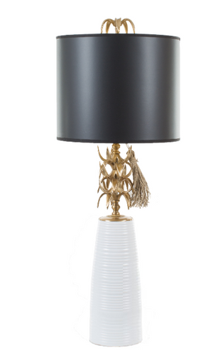 White Ananas Table Lamp - Black Shade