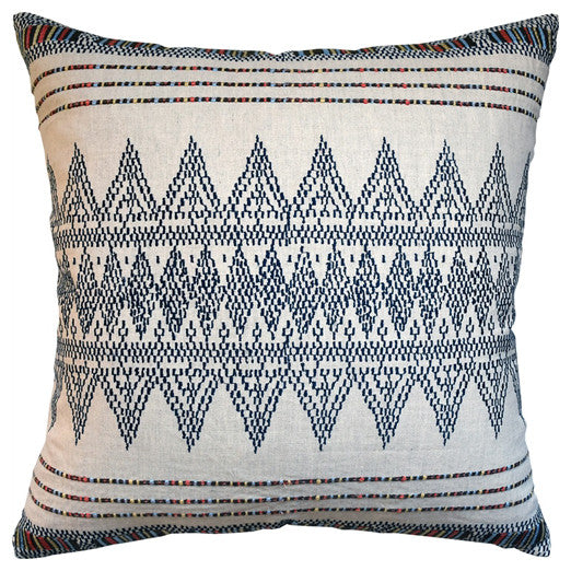Stitchwork Pattern Pillow – Indigo