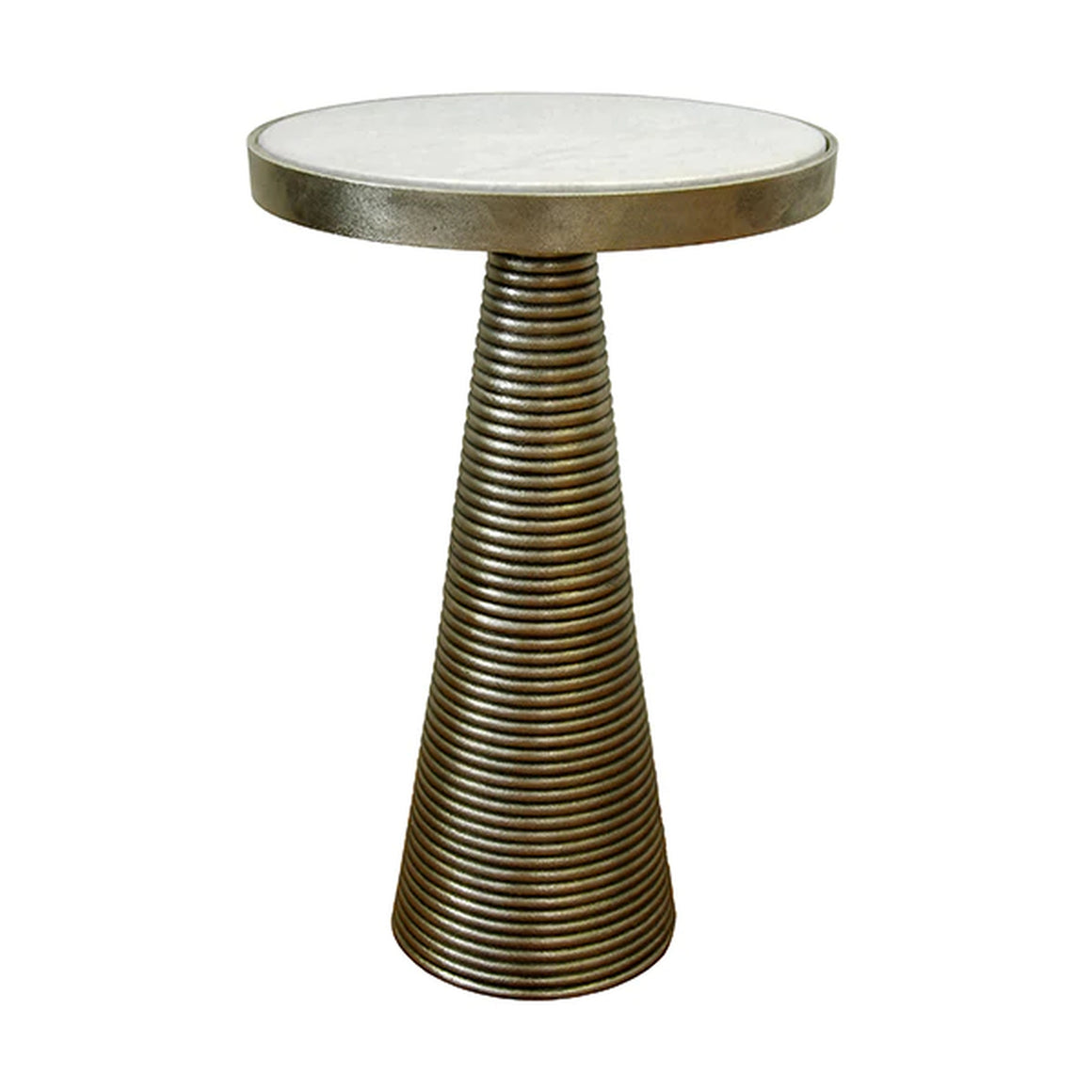 Worlds Away Side Table - Tapered Ribbed Brass Base