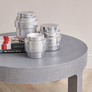Bungalow 5 Hammered Nickel Canisters with Lids - Set of 3