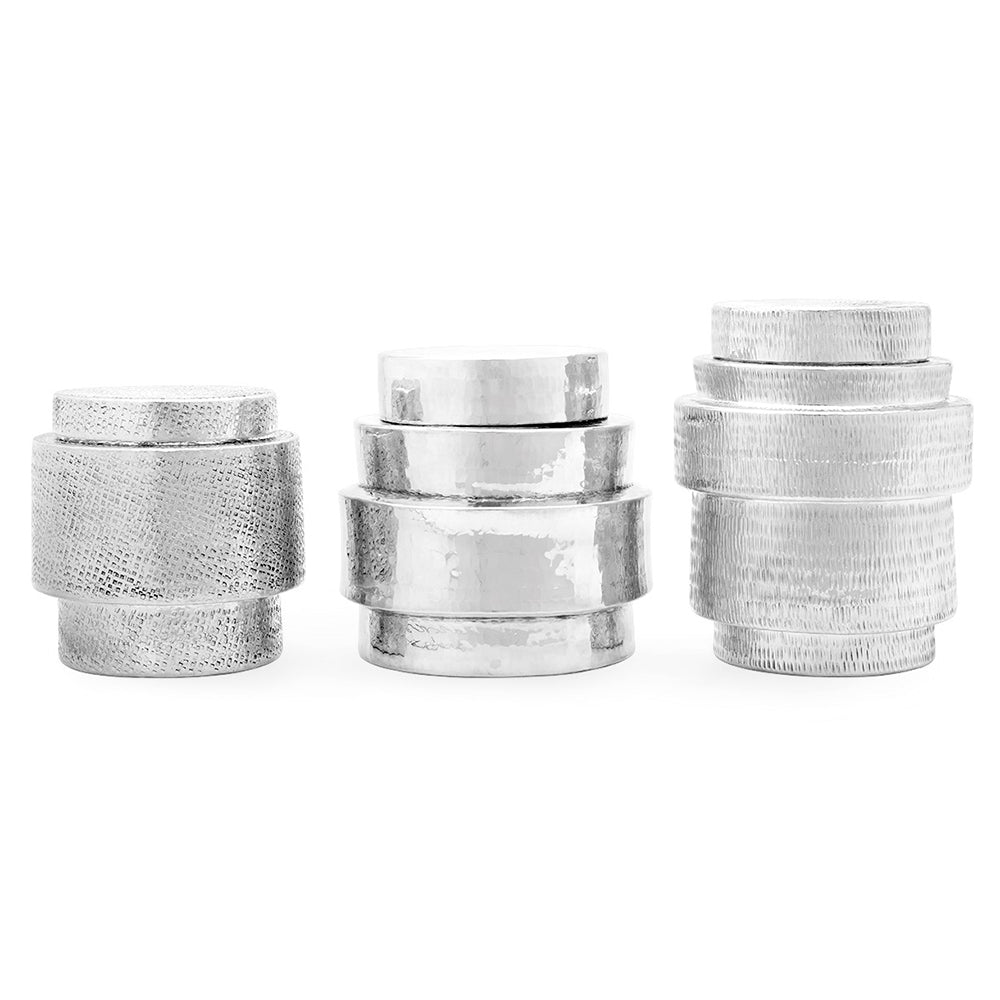 Bungalow 5 Hammered Nickel Canisters with Lids – Set of 3
