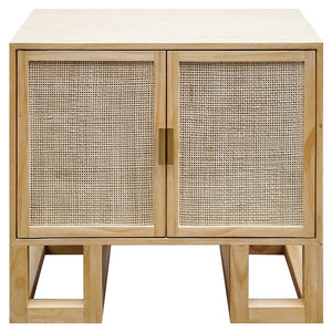 Worlds Away 2-Door Cabinet with Cane Door Fronts – Pine