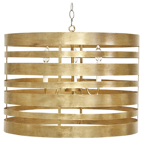 Worlds Away Banded Metal Drum Pendant – Gold Leaf
