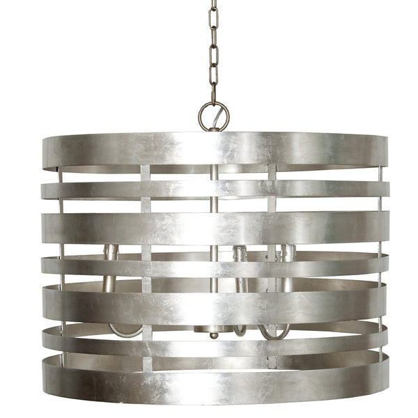 Worlds Away Banded Metal Drum Pendant – Champagne Silver Leaf