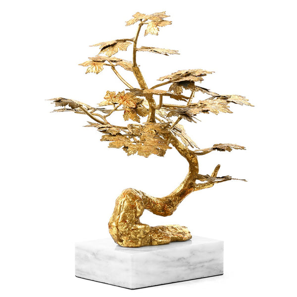 Bungalow 5 Cast Iron Bonsai Tree Sculpture on Marble Base – Gold Leaf