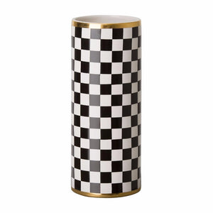 Tall Checker Cylinder Vase - Black & White
