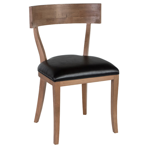 Thomas Upholstered Armless Chair - Black Leather & Almond (23 Finish & 9 Leather Options)