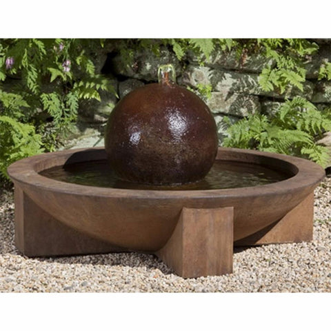 Low Zen Stone Sphere Fountain - Rust Patina