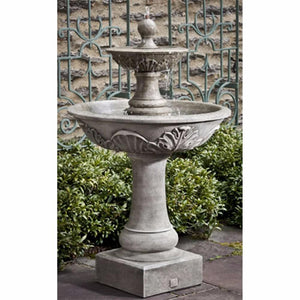 Acanthus Two Tiered Fountain - Grey Patina