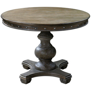 Sylvana Weathered Pine Pedestal Dining Table