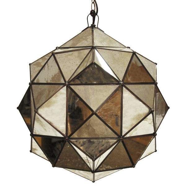 Worlds Away Faceted Globe Pendant Light – Antique Mirror