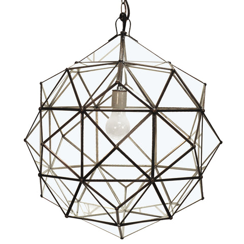 Worlds Away Faceted Globe Pendant Light – Clear Glass