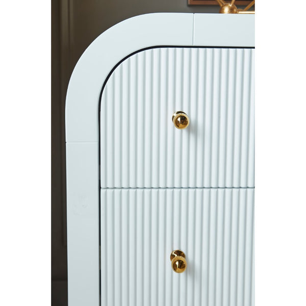 Worlds Away 6-Drawer Waterfall Edge Dresser – White Lacquer