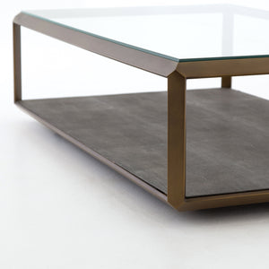 Shagreen Shadow Box Coffee Table - Brass