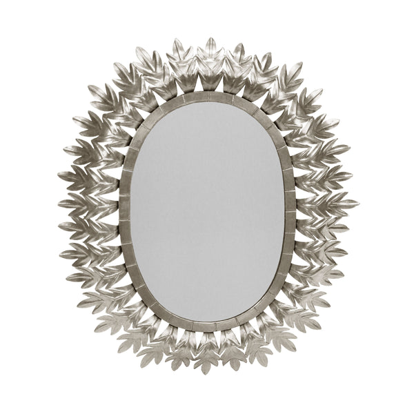 Worlds Away Oval Starburst Leaf Mirror – Silver Leaf