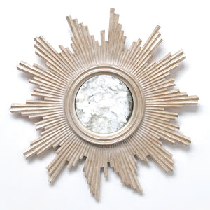 Worlds Away Small Starburst Framed Mirror – Silver Leaf