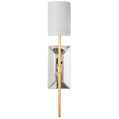 Worlds Away Beveled Mirror Sconce with White Linen Shade – Gold Leaf