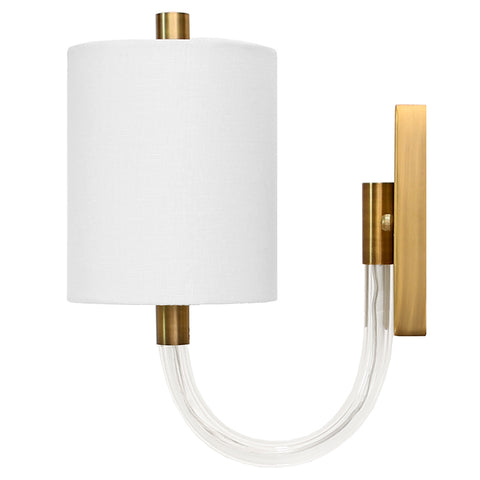 Worlds Away Acrylic Hook Necked Sconce with White Linen Shade – Antique Brass