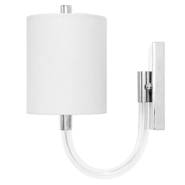 Worlds Away Acrylic Hook Necked Sconce with White Linen Shade – Nickel