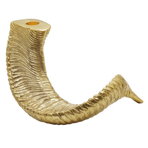 Worlds Away Pair of Ram's Horn Candle Holders – Gold Leaf