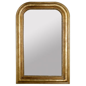 Worlds Away Rectangular Mirror with Curved Top – Gold Leaf