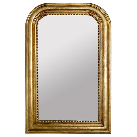 Handcarved Rectangular Mirror with Curved Top – Gold Leaf