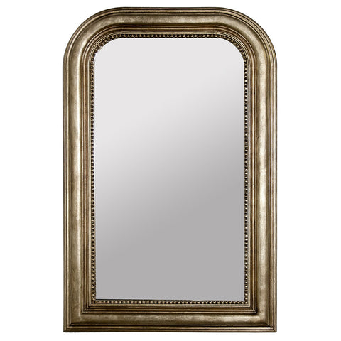Handcarved Rectangular Mirror with Curved Top – Silver Leaf