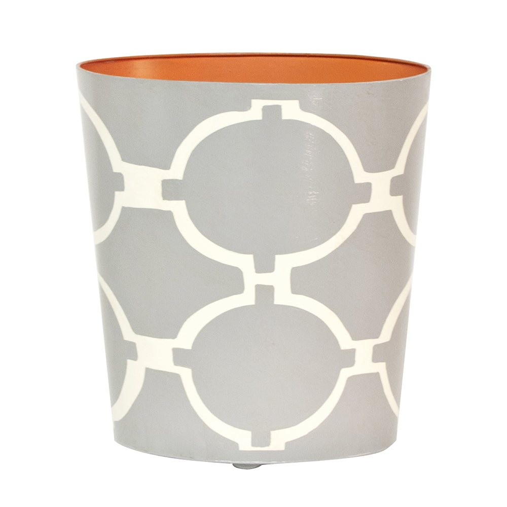 Worlds Away Patterned Oval Wastebasket - Grey & Cream