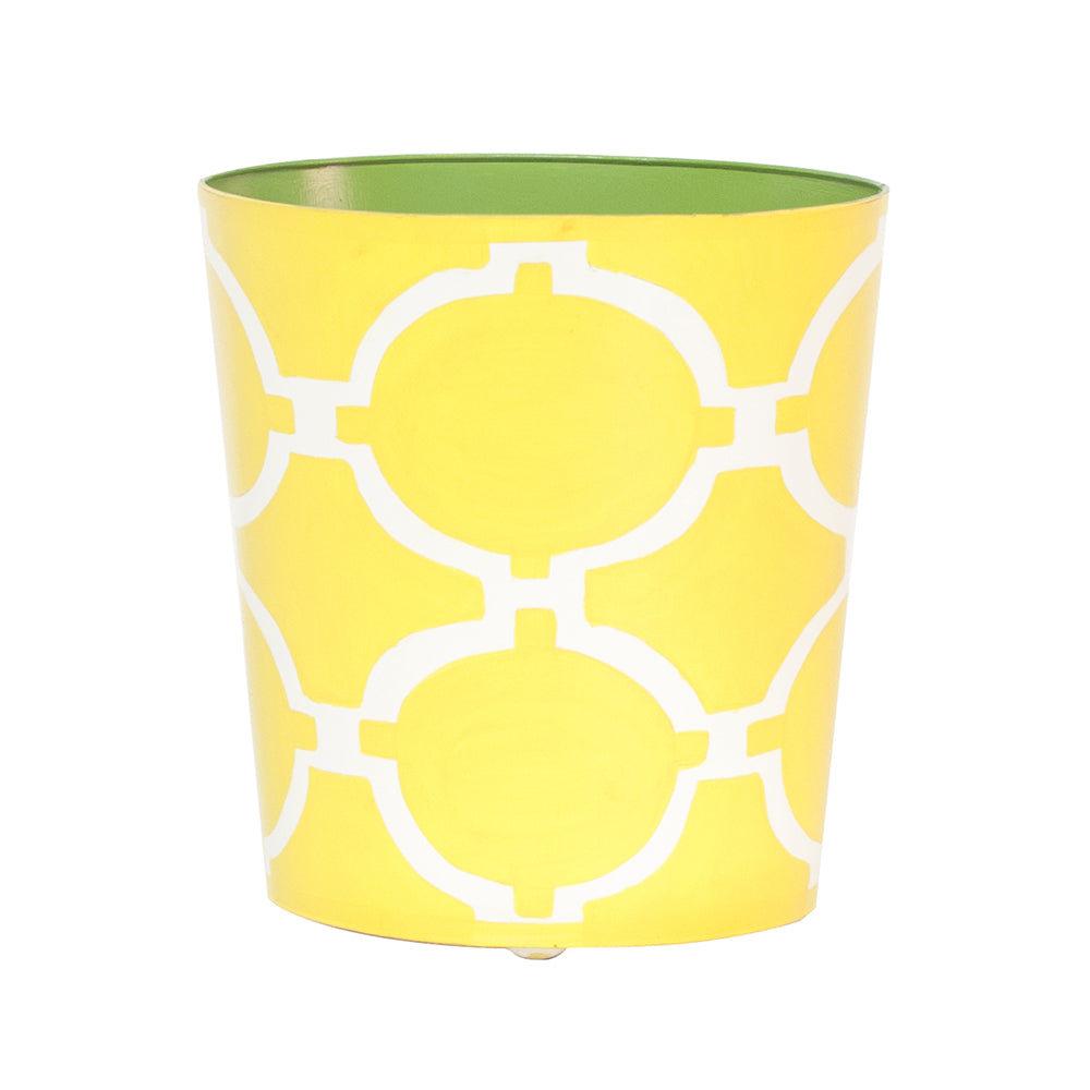 Worlds Away Patterned Oval Wastebasket - Yellow & Cream