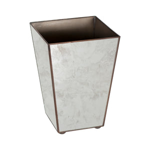Worlds Away Tapered Square Antique Mirror Wastebasket
