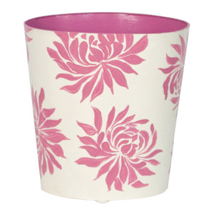 Worlds Away Floral Hand-Painted Wastebasket - Pink