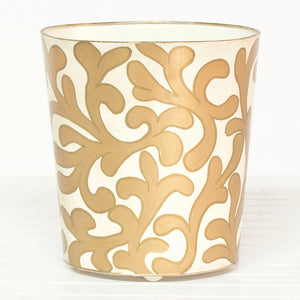 Worlds Away Hand-Painted Branches Wastebasket - Gold & Cream