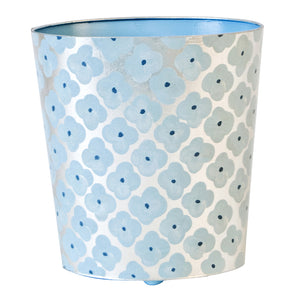 Worlds Away Hand-Painted Oval Wastebasket – Blue Morocco