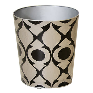 Worlds Away Hand-Painted Oval Wastebasket – Black & Silver