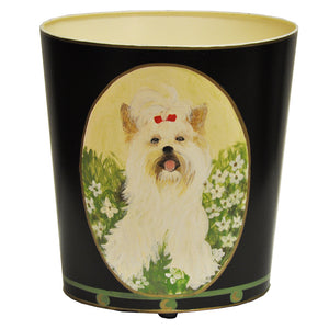 Worlds Away Hand-Painted Wastebasket - Yorkshire Terrier