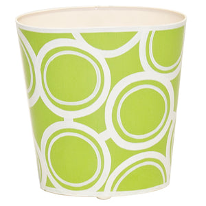 Worlds Away Hand-Painted Oval Wastebasket - Green Bubbles