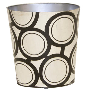 Worlds Away Hand-Painted Oval Wastebasket – Black Bubbles