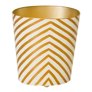 Worlds Away Hand-Painted Oval Wastebasket - Gold Zebra