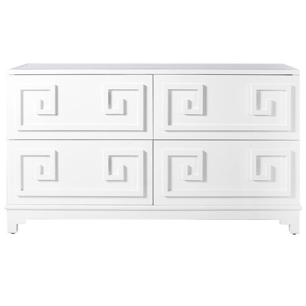 Worlds Away Greek Key Dresser – White Lacquer