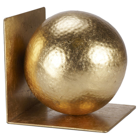 Gold Leaf Hammered Ball Bookends – Set of 2