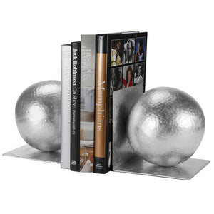 Worlds Away Iron Ball Bookends – Silver Leaf