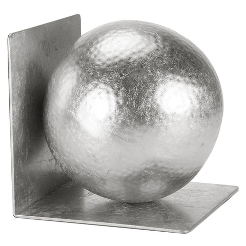 Silver Leaf Hammered Ball Bookends – Set of 2