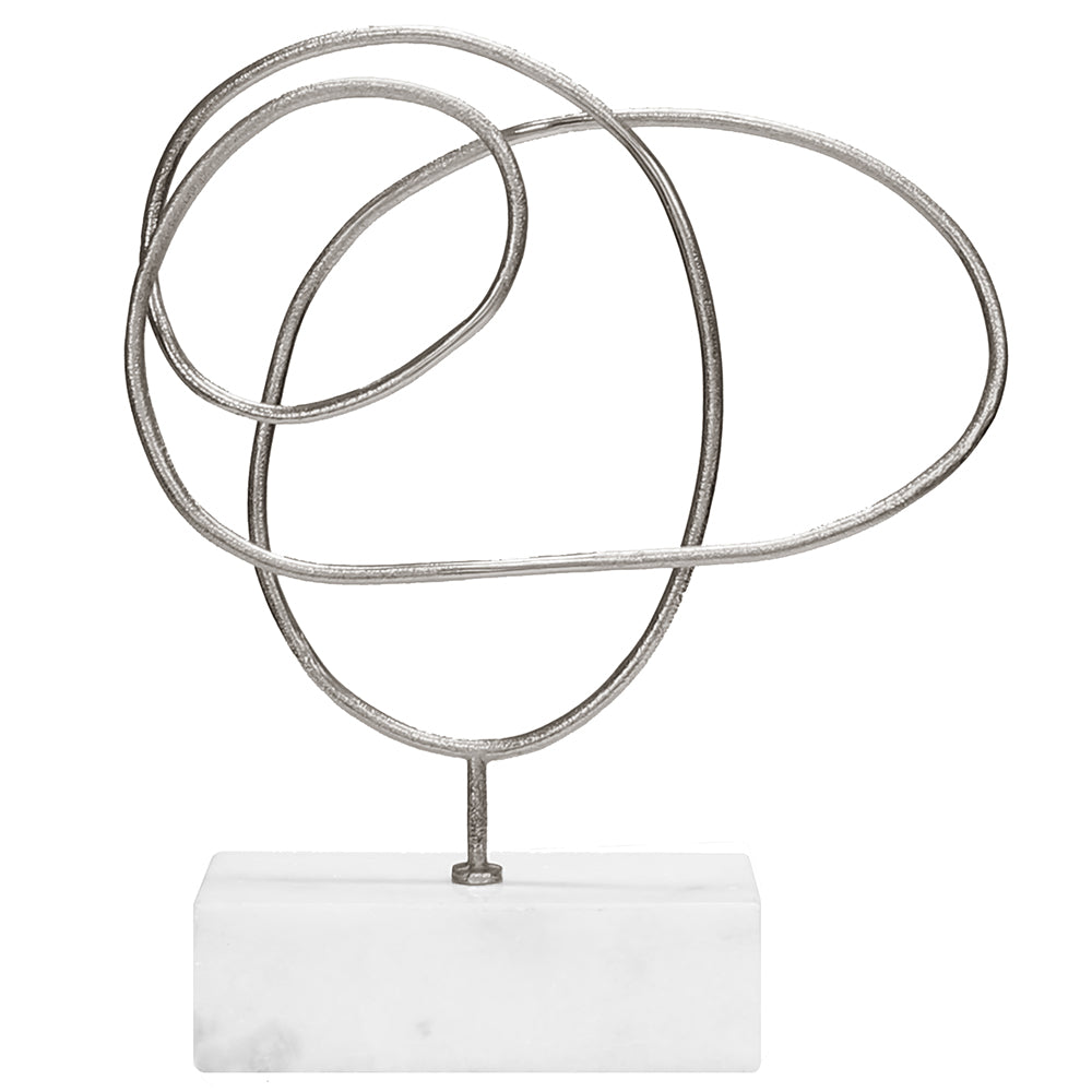 Worlds Away Large Abstract Doodle Sculpture on Marble Base – Silver Leaf