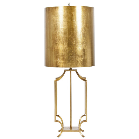Worlds Away Iron Table Lamp with Metal Shade – Gold Leaf