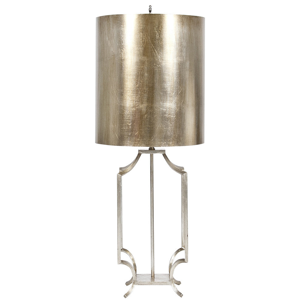 Worlds Away Iron Table Lamp with Metal Shade – Champagne Silver Leaf